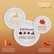 Fall season infographic plates Autumn graphics template. EPS10 f