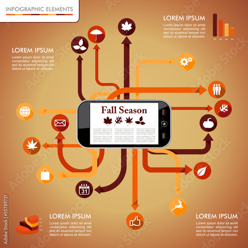 Fall season infographics mobile network graphic template. EPS10