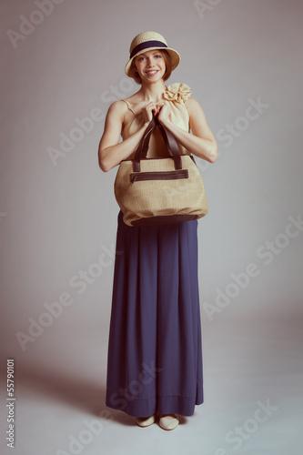 Girl in retro suit
