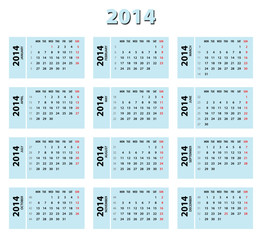 2014 blue calendar