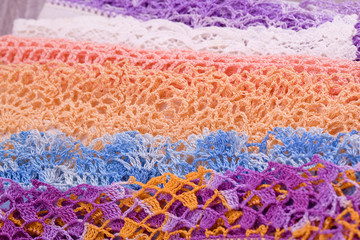 colorful  lace of linen handkerchief
