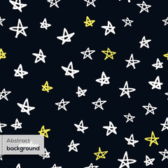 Vector seamless pattern with doodled stars