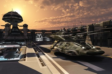Futuristic military base and antigravity tank