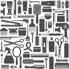 Hair styling related vector seamless pattern background 4