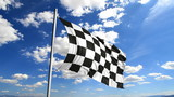 Finishing checkered flag waving