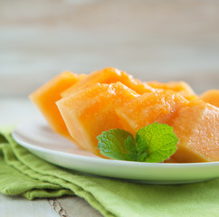 Slices of cantaloupe melon