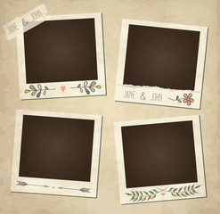 Scrap set of cute vector retro floral photo frames