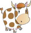 Cute Farm Cow Vector Illustration