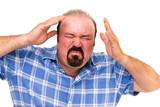 Enraged man wringing his hands poster