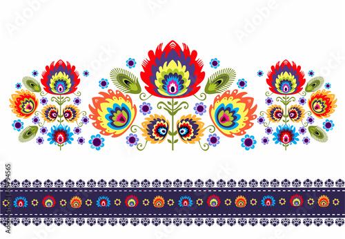 wzór ludowy z kwiatami - 55794565