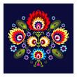 Polski wzór ludowy z kwiatami - 55794732