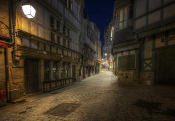 Dark alleyway on Mont Saint Michel, France