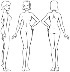 woman body - front, back and side view in outline