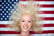pretty wild hair woman on American flag