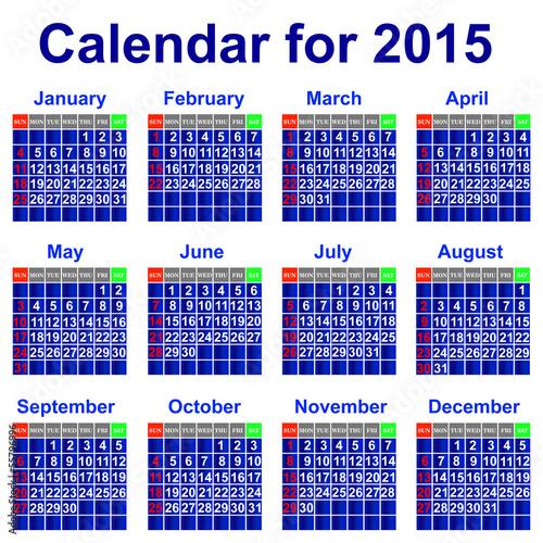 Вектор: Calendar for 2015 year.