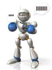 Robot presents an ID card.