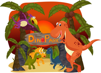 illustration of Dino Park Evening and Dino