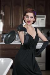 Woman Holding Frying Pan
