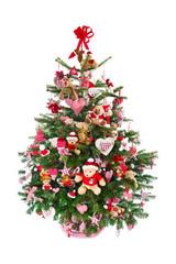 Weihnachtsbaum isoliert in rot geschmückt mit Teddybären