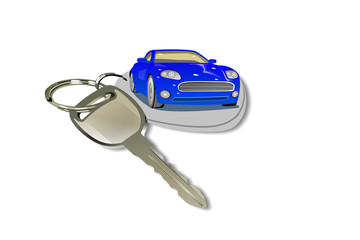 Car and Keychain on white background