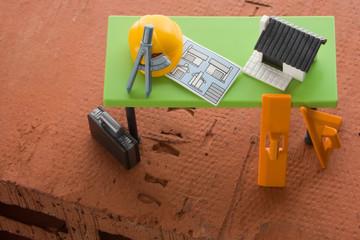 Backstein mit Architekten Tisch Spielzeug
