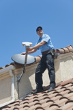 Satellite Installer on Roof.