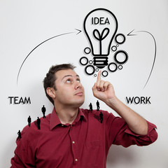 Business concept: teamwork and ideas