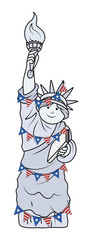 Decorative cartoon Statue of Liberty on Independence Day