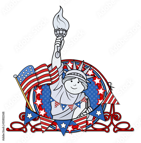 patriotic 4th of july vector - statue of liberty