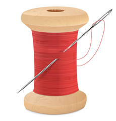 Spool of thread with needle isolated on white. Vector illustrati