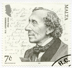 MALTA- 2005: shows Hans Christian Andersen (1805–1875), writer