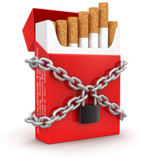 Cigarette Pack and lock (clipping path included)
