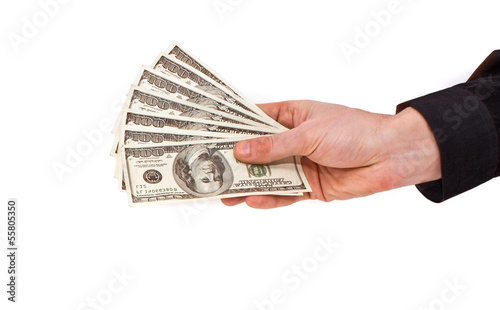 Few bills of U.S. dollars in male hand