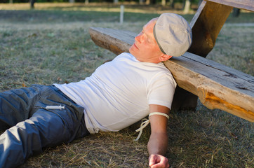 Drug addict collapsed on the ground