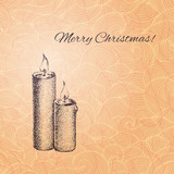 Vintage vector Christmas card with hand drawn candles