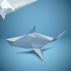Vector illustration of origami shark