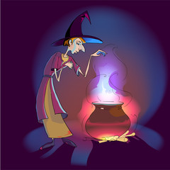 Witch with potion in the pot