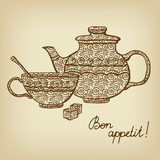 Background with teapot, cup and sugar