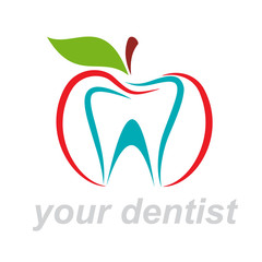 Vector Logo dentist. Bite the apple