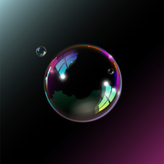 Soap bubble on black background. Vector illustration.