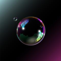 Soap bubble on black background. Vector illustration.