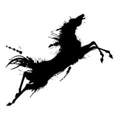 Grunge jumping horse silhouette