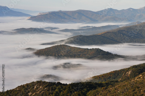 Morning fog, San Miguel de Aralar, Navarre (Spain)