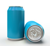 Blue alluminium cans on white background