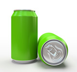 Green alluminium cans on white background