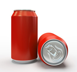 Red alluminium cans on white background