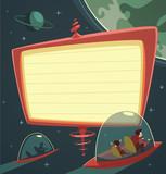 Retro-futuristic billboard in outer space poster