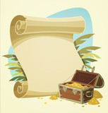 Pirate treasure chest. Vector illustration.