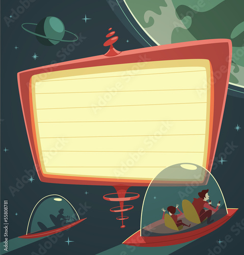 Retro-futuristic billboard in outer space