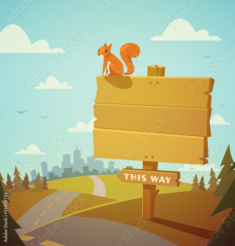 Wooden village sign. Vector illustration.